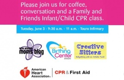 'Coffee, Conversation, and Family and Friends CPR Class' at Touro Infirmary with the New Orleans Moms Blog